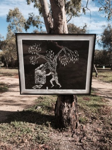 George Egerton-Warburton, 'Foul Mouth' one of four framed woodblock prints installed on trees at Agnes Denes' 'A Forest for Australia' (1998) Altona Treatment Plant, March-May 2015