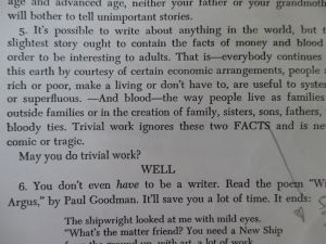 Point 5, 'money and blood' from Grace Paley, 'Some Notes on Teaching: Probably Spoken'.