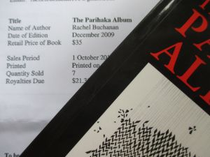Portion of sales statement for The Parihaka Album, Huia Publishers, 30 April 2014. I was paid $21.30 in royalties.